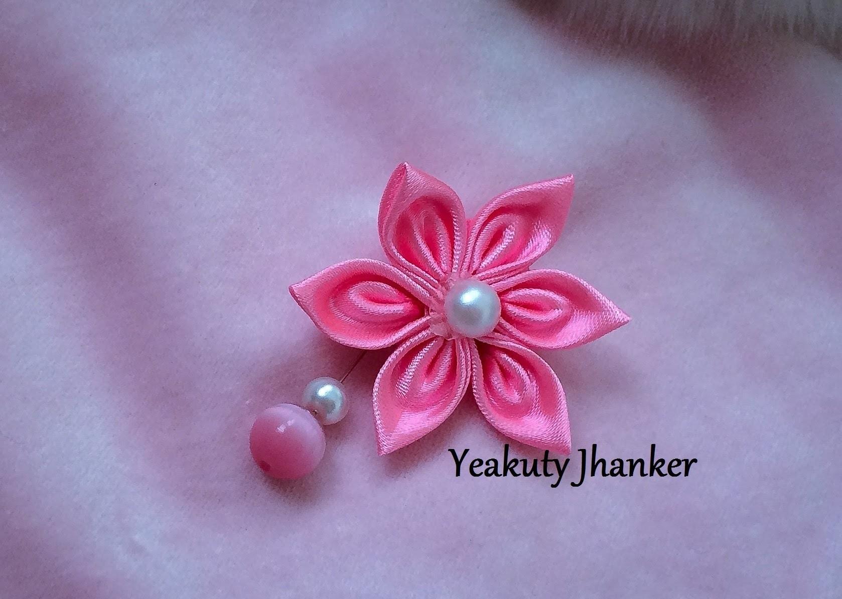 Kanzashi ribbon flower--- brooch. hijab pin