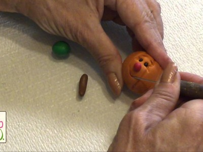 Polymer Clay Tutorial - Cute Pumpkin Face Figurine