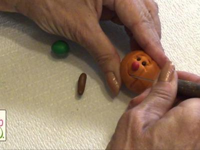 Polymer Clay Tutorial - Cute Pumpkin Face Figurine