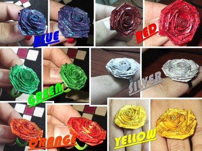Quilled sparkling rose rings. paper rings water proof and strong