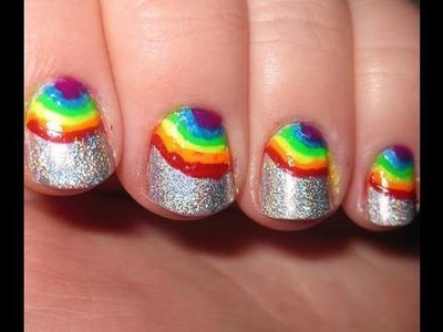 Rainbow Holographic Nails & review of Migi Nail Art Pens