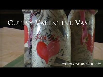 Cutesy Valentine Vase from Recycled Glass Bottles