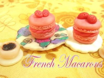 Strawberry French Macarons Polymer clay Tutorial - Macarons de Fresa Porcelana fría