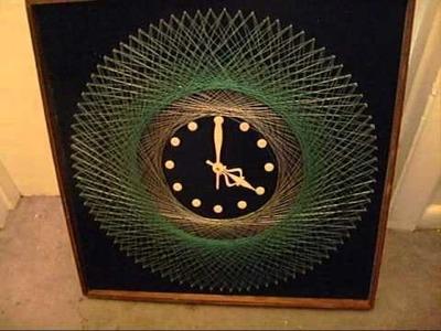 Vintage 70's String Art Clock