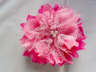 Pink Tulle Tissue Paper Flower Shabby Chic EASY