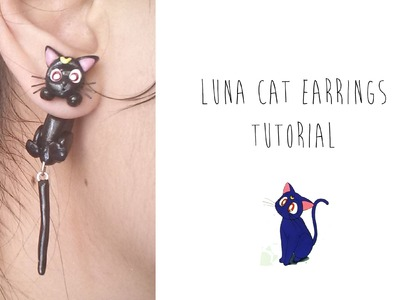 Polymer Clay Earrings Tutorial: Luna the cat from Sailor Moon