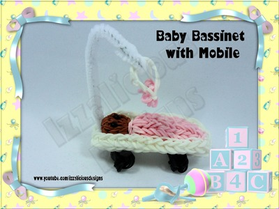 Rainbow Loom Baby Bassinet.Crib.Cot with mobile Action Figure.Charm - Gomitas