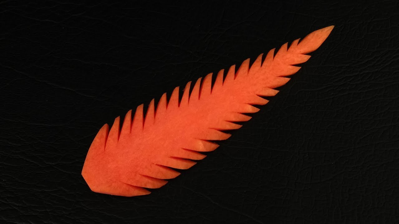 Very Simple Carrot Leaf Design 1 - Beginners Lesson 33 By Mutita The Art Of Fruit And Veg Carving