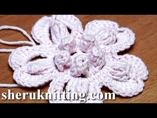 Crochet Flower With Popcorn Stitches Tutorial 2 como hacer una flor de ganchillo