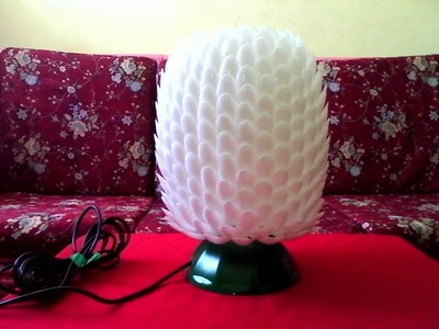 DIY # 7 LAMPSHADE MADE OF RECYCLED PLASTIC SPOONS & BOTTLE