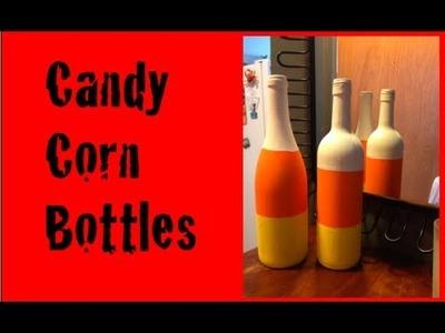 DIY: Candy Corn Bottle Decor ♡ Theeasydiy #HalloweenHorror