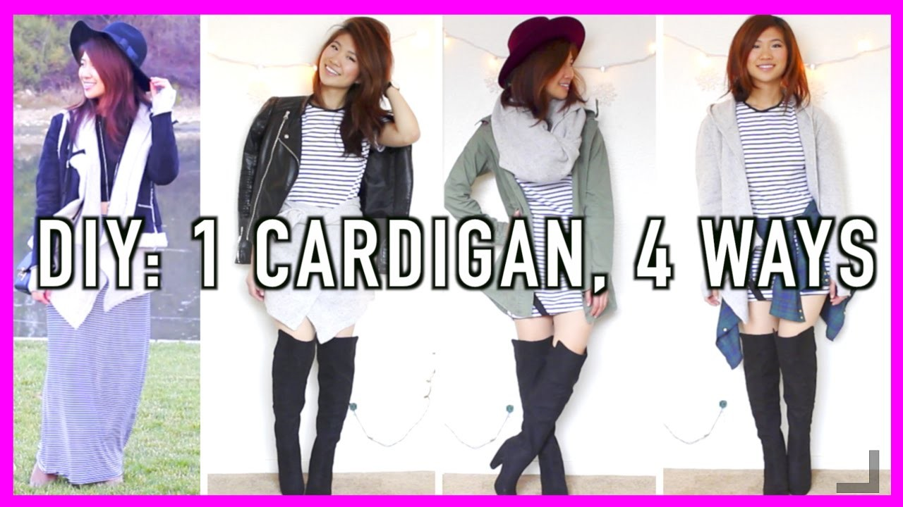 DIY Clothes from Old Clothes: Cardigan 4 Ways! (No Sew)