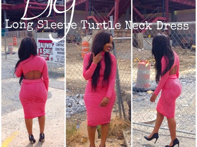 DIY: Long Sleeve Turtle Neck Dress w. Cut Outs