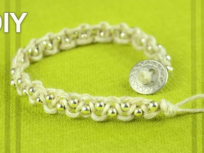 Easy Macrame Bracelet with Beads and Button Clasp - Tutorial