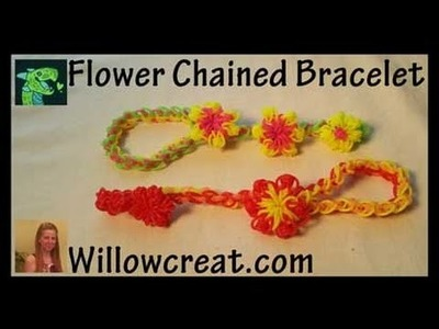 Flower Chained Bracelet and Ring - Rainbow Loom Hook or Crochet hook