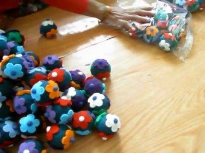 Making Felt Wool Flower Ball