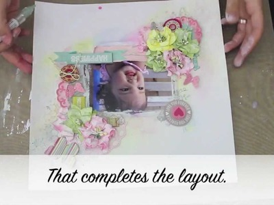 Mixed Media 12x12 scrapbooking Layout tutorial. Step by step scrapbook layout tutorial.