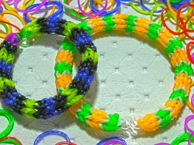 New 3 Colors Model Rabinbow Loom Bands He and She Tutorial
