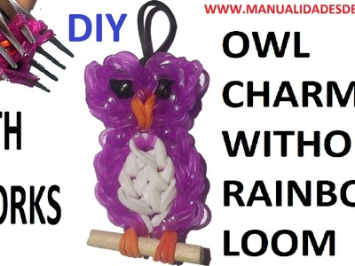 Owl Charm With two forks without Rainbow Loom Tutorial. (Mini Figurine)