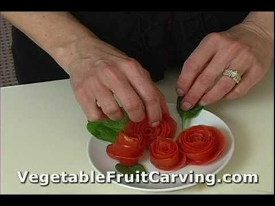 Vegetable Carving Made Easy - Tomato Rose Garnish 2 - Nita's Fruit & Vegetable Carving
