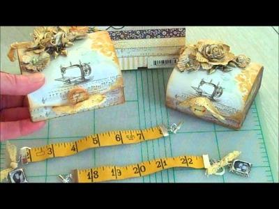 Vintage Tape Measure Bracelets & Michael's Dollar Bin Boxes