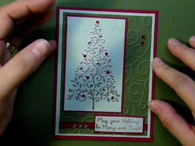 Chritmas card 2012 series using silver embossing powder and tree card #3