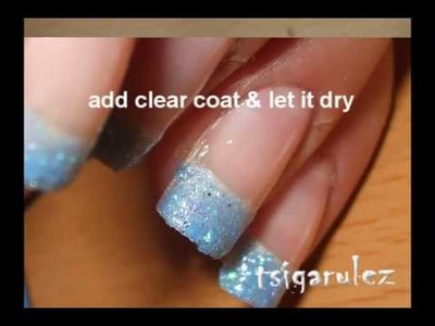 Blue glitter & black nail art tutorial