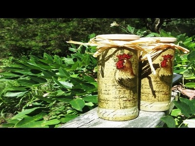How to Upcycle Glass jars into Salt and Pepper Shakers  Decoupage!