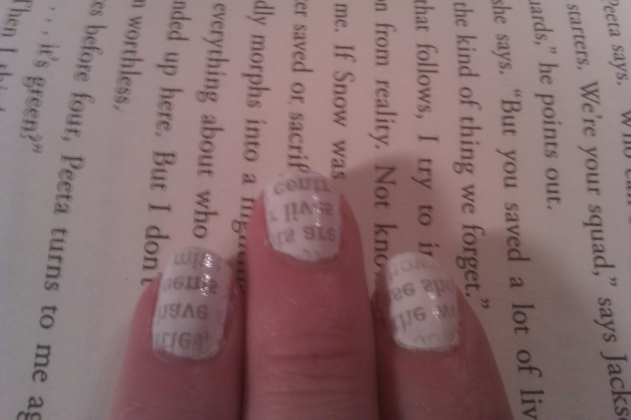 Newspaper nails with WATER (not alcohol)!