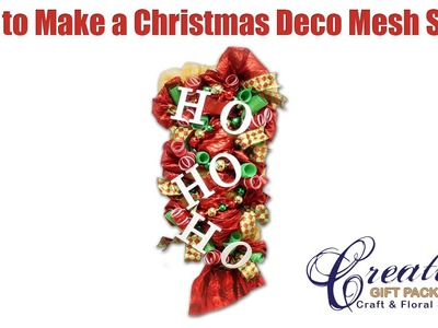 Decorating a Christmas Deco Mesh Swag using a Work Rail