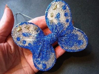 GLITTERED BUTTERFLY PIN.