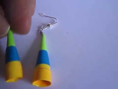 Handmade Jewelry - Paper Quilling Trumphet Earrings (Green, Blue, Yellow)