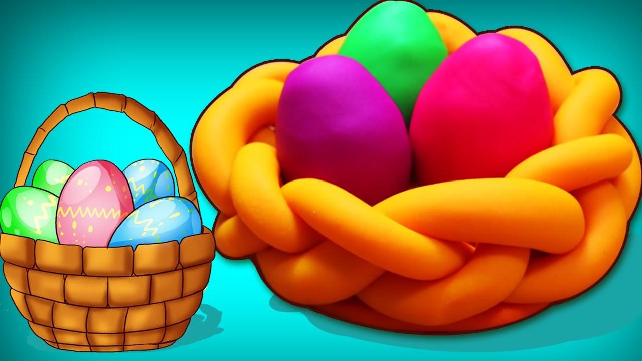 How to Make Playdough Eggs and Basket   Play Doh Eggs