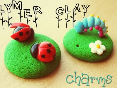 Polymer clay meadow charms - ladybugs and caterpillar TUTORIAL