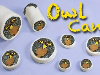 Polymer clay tutorial Owl cane. Millefiori - Murrina Gufo - Arcilla polimérica Búho.