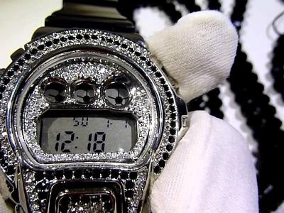 (SOLD)$145 Black.White deal! Fully Loaded bezel G-Shock type Watch+Diamond cut Chain.Cross +Bracelet