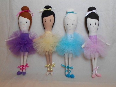 How to Make a Handmade Doll. Cloth Doll - Blue Whimsy Ballerina Part 2.3