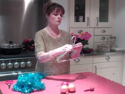 Janet Ellis makes Christmas advent crown decoration filmed on a Flip Video