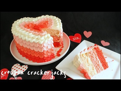 Pink Ombre Heart Cake for Valentine's Day!!