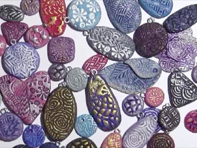 Polymer Clay Pendants & Charms with Textured Stamp