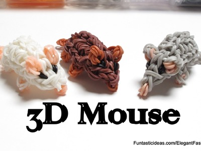 Rainbow Loom Mini Mouse.Hamster 3D Figures.charms - How to - 3D Animal Series
