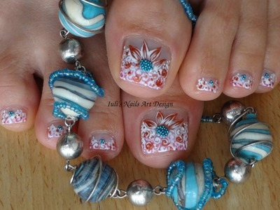 Nail art collaboration with aoana15 France - UK sweet flowers on French manicure.pedicure