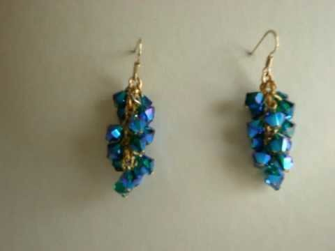 Swarovski crystal EmeraldABX2 cluster style earrings