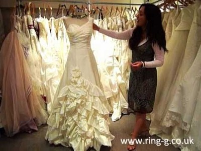 Taffeta A-Line Ruffle Skirt Wedding Dress Wedding Gown by Ring #HA3113