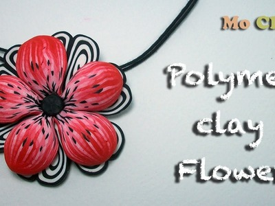 Polymer Clay. Fimo Flower tutorial - Pendant charm