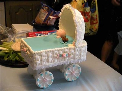 Rolled Fondant Baby Carriage w Baby & Bear