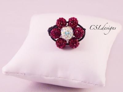 Shamballa flower ring