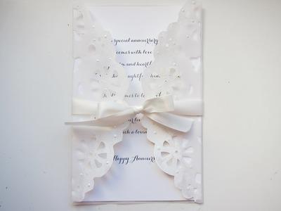Vellum Anniversary.Wedding Card with die cut Doiley
