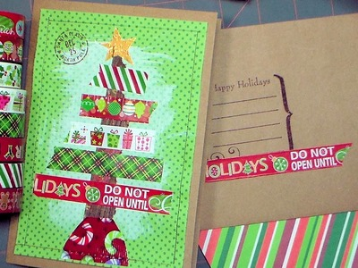 Christmas Card Stashbuster! {use that washi tape, pattern paper, stamps and duct tape ideas!}
