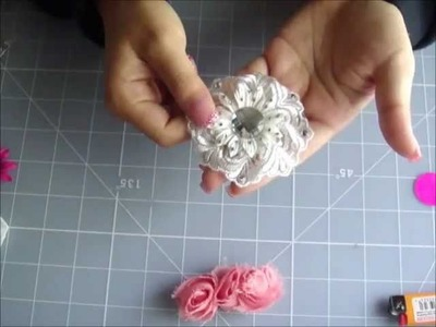 Fabric Paper Flower combo TUTORIAL using WOC summer blooms paper flowers. trim haul frogfeathers